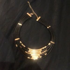 Black and gold Express Bib necklace